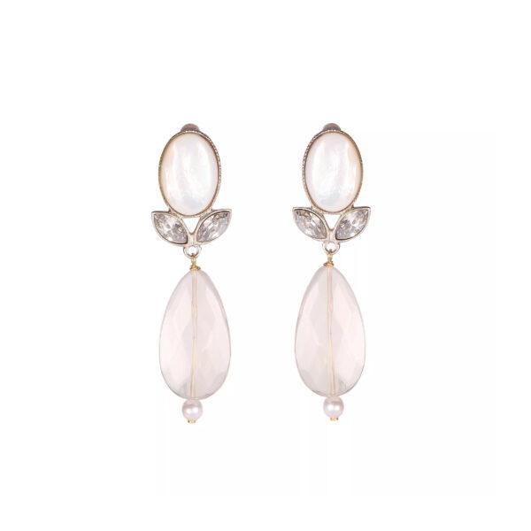 Boucles d'oreilles clips cristal de roche et cristal - PF11 par PHILIPPE FERRANDIS.
