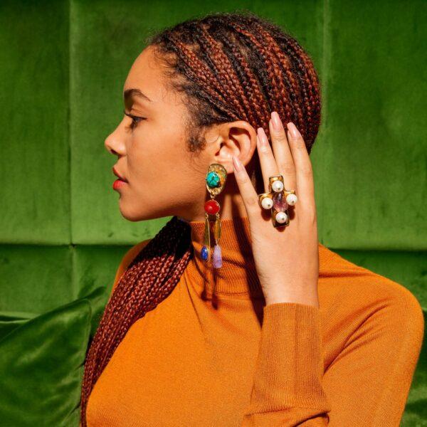 Boucles d'oreilles clips TOPKAPI TOP112 portées